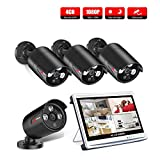 ANRAN Security Camera System,4 Channel 1080N DVR Kits with 12 Inch Monitor,4 1080P HD AHD Night vision Indoor/Outdoor CCTV surveillance Camera,Quick Remote Access Setup Free App,No HDD