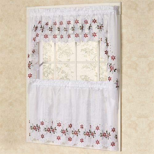 Lorraine Home Fashions Of Chin Holiday Poinsettia Window Valance Curtain Christmas Xmas Decor