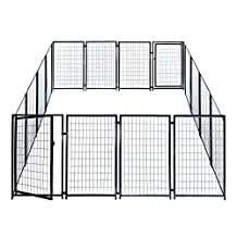 ALEKO® 2DK5X5X4SQ Dog Kennel Heavy Duty Pet Playpen 10X10X4 Foot Dog Exercise Pen Cat Fence Run for Chicken Coop Hens House