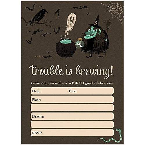 Witch Halloween Party Invites & Envelopes (Pack of 25) Trouble is Brewing Spooky Kids Children's Party Fill-in Large Blank 5x7