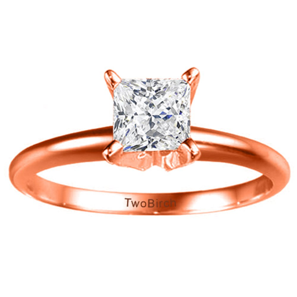 TwoBirch Sterling Silver Traditional Style Princess Solitaire with Cubic Zirconia (1 ct. tw.) TB-SL-0007-SICZWG-4