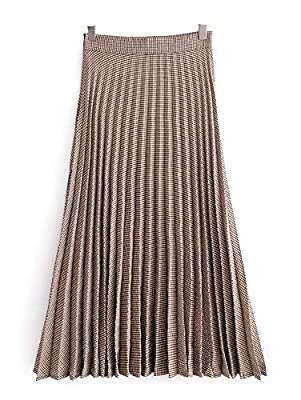 KENANCY Women's Button Front Snakeskin Print High Waist A Line Pleated Flared Midi Skirt
