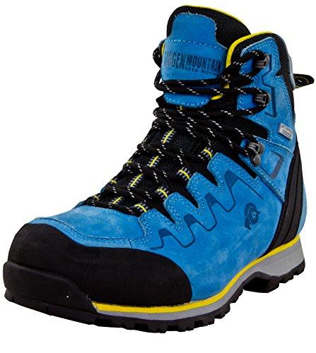 GUGGEN Mountain PM025 Damen Trekking-& Wanderstiefel Wanderschuhe Trekkingschuhe Outdoorschuhe Wasserdicht mit Membran und Leder Blau-gelb