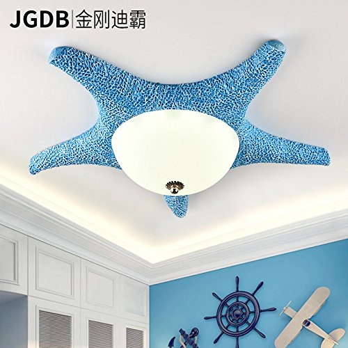 To lamp in the eye LED children's room ceiling light creative personality for boys and girls bedroom light sea star , Blue -7W