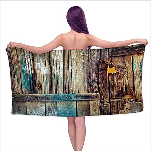 Glifporia Custom Bath Towel Rustic,Aged Shed Door Backdrop with Color Details Country Living Exterior Pastoral Mansion Image,Brown,W10 xL39 for bathrooms, Beaches, Parties