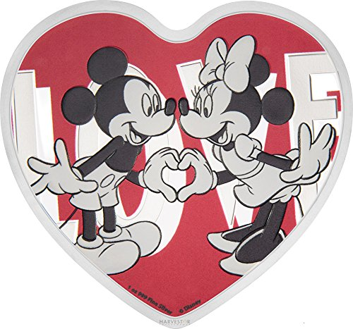 Silver Coin Shaped (2018 NU Disney Love Heart-Shaped Silver Coin - 1 oz. - Mickey and Minnie Mouse - With all Original Packaging $2 Brilliant Uncirculated)
