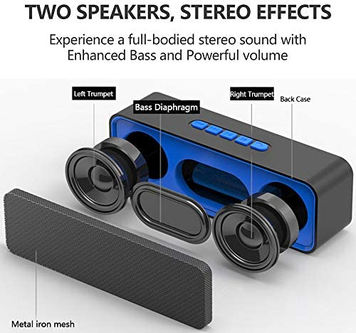 Upgrade Wireless Bluetooth Speaker, Portable Stereo Speakers with HD Audio and Enhanced Bass, Built-in Dual Driver Speakerphone and Mic, Bluetooth 4.2, TF Card, FM Radio, TWS Playing Blue
