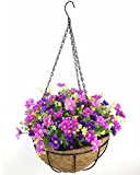 Lopkey Artificial Daisy Flowers Outdoor Indoor Patio Lawn Garden Hanging Basket with Chain Flowerpot,10 Inch Review