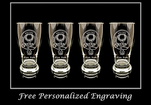 - Clan Ross Scottish Crest Pint Glass Set of 4 - Free Personalized Engraving, Family Crest, Pub Glass, Beer Glass, Custom Beer Glass