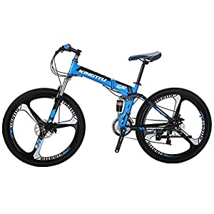 Kingttu G6 Mountain Bike 26 Inches 3 Spoke Wheels Dual Suspension Folding Bike 21 Speed MTB Blue 2018