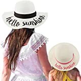 C.C Womens Mommy and Me Girls Sayings Summer Beach Pool Floppy Dress Sun Hat Hello Sunshine, White