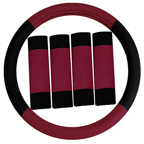 (FH Group FH2033BURGUNDY Steering Wheel Cover (Modernistic and Seat Belt Pads Combo Set Burgundy))