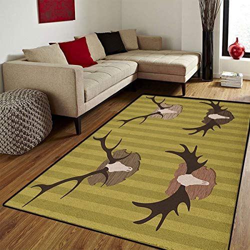 Hunting,Floor Mat for Kids,Deer and Moose Horns Trophy on Striped Background Mountain Cottage Print,Bath Mat for tub Bathroom Mat,Khaki Multicolor,4x5 ft]()