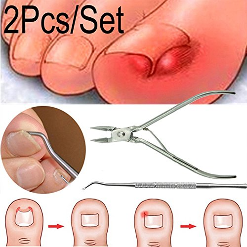Price comparison product image Jonerytime2Pcs / Set Ingrown Toe Nail Correction Nippers Clipper Cutters Dead Skin Dirt Remover + Paronychia Podiatry Pedicure Care Tool
