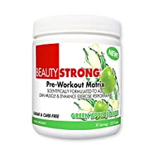 BeautyFit BeautyStrong, Pre-Workout Matrix For Women (Green Apple, Multi-Use Container - 30 Servings)