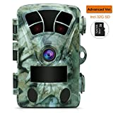 AIMTOM T905 Hunting Trail Camera w/ SD Card, 2Pcs No Glow Super Power IR LEDs 2.4 Inch Screen 16MP 1080P Stealthy Waterproof Wildlife Game Cam 130 Degree Wide Angle 0.2S Fast Trigger 82Ft Night Vision