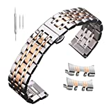 Men's Stainless Steel Watch Band Straps 16 17 18 19 20mm 21 22 23 24 Metal Bracelet Rose Gold Silver