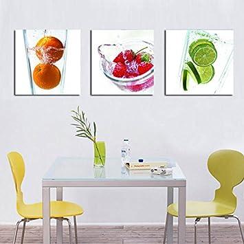 3 PCS Ohne Rahmen Wandbild Fresh Fruit Orange, Erdbeere Und Zitrone Gemälde  Foto Zeichnen Dekoration