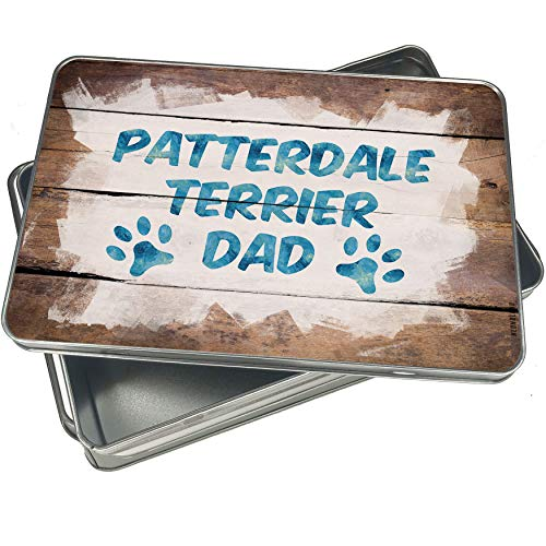 NEONBLOND Cookie Box Dog & Cat Dad Patterdale Terrier Christmas Metal Container