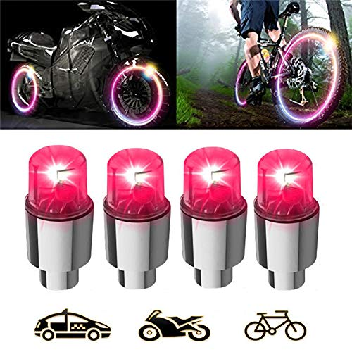4 Pair LED Wheel Lights Car Bike Wheel Tire Tyre Valve Dust Cap Waterproof, Motion Activated, Safety, Spoke Flash Lights Car Valve Stems & Caps Accessories