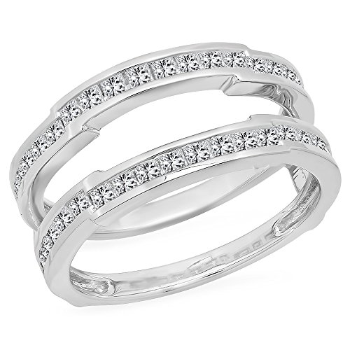 dazzlingjewelrycollection 1.15 Carat (Ctw) 14K White Gold Plated Princess Cut White Diamond Ladies Anniversary Wedding Band Enhancer Guard Double Ring 1 1/4 ()