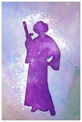 Princess Leia Bounty Hunter Costumes (JSC189 Princess Leia Water Color Art Poster | 18-Inches By 12-Inches | Premium 100lb Gloss Poster Paper)
