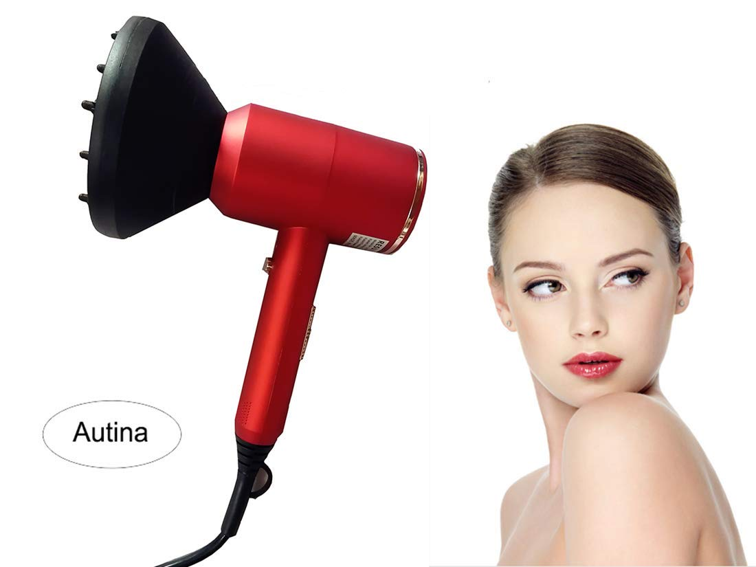 2000W Professional Hair Blow Dryerwith Diffuser Comb, Infrared Technology Hair Dryer Adds Shine, Salon Quality Results - for Travel, Quiet Hairdryer - Deluxe Soft Touch for your hair (Red) by Autina-home