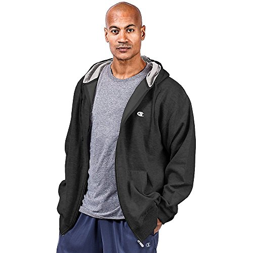 Champion Men's Big and Tall Full Zip Fleece Hoodie (Black, 3XT)
