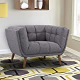 Armen Living LCPH1DG Phantom Chair in Dark Grey Linen and Walnut Wood Finish For Sale