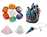 rockcloud Healing Crystal Kit,Lot of 7 Chakra Palm Stones,Pendulum,Natural Titanium Coated Quartz,Rock Crystal,Rose Quartz Pyramid Meditation Set