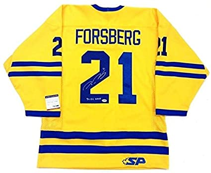 aee5625d3 Peter Forsberg Autographed Jersey - Team Sweden Olympic Gold Yellow -  PSA/DNA Certified - 5 at Amazon's Sports Collectibles Store