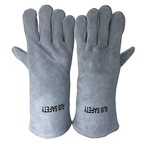 AINIYF (13.8x6.7Inches) Forge Welding & BBQ Leather Gloves, Extreme Heat/Fire Resistant With Long Sleeve For Grill/Forge/Fireplace/Tig Welder/Mig Welding/Gardening Gloves(Grey) by AINIYF (Image #2)