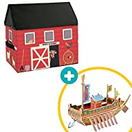 Barn Storage Box for Kids Playroom with Bonus 3D Adventure Ship, Toy Chest Organizer Barn with 3D…