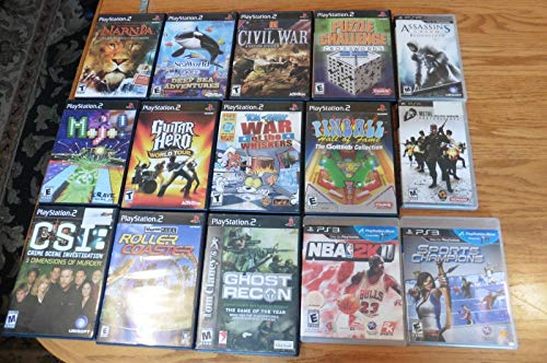 Lot of 15 Playstation 2 PS3 & PSP games Assassins Creed Sports Champion Narnia + (Wii Games Lot)