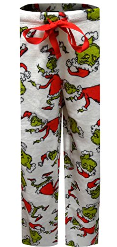 MJC Women's Dr. Seuss The Grinch White Plush Lounge Pants ()