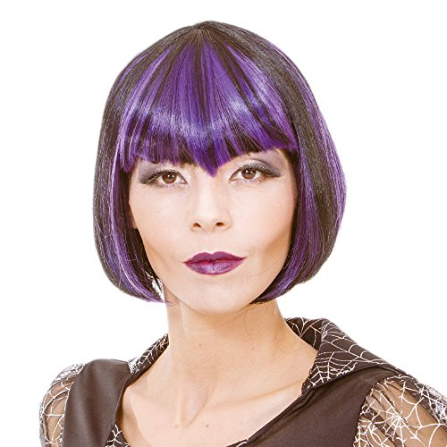Short Straight Purple and Black Cosplay Vampire Wig for Women Synthetic Scary Hair Wig with Bangs for Party Halloween