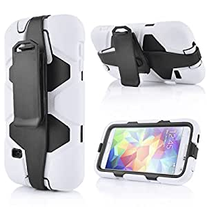 Heavy Duty Rugged Hybrid Rubber Shockproof Hard Swivel Belt Holster Mobile Phone Case for Samsung Galaxy S5 (WHITE)