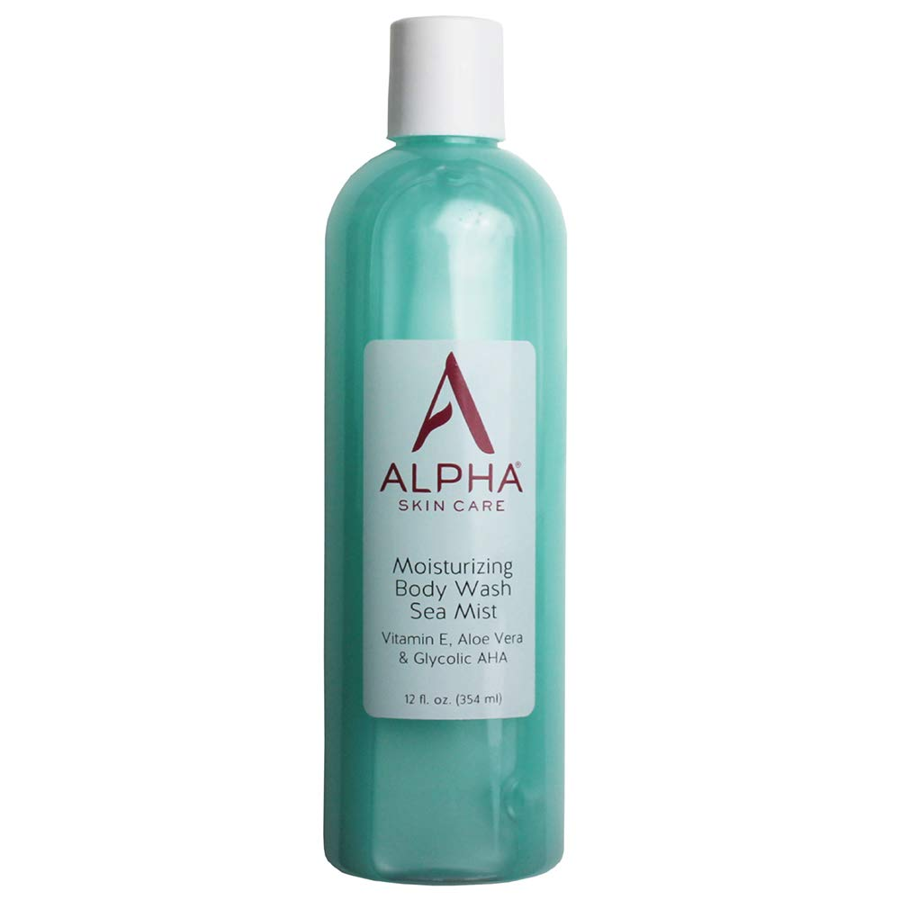Alpha Skin Care Moisturizing Body Wash | Anti-Aging Formula | Glycolic Alpha Hydroxy Acid (AHA) | Vitamin E & Aloe Vera | Conditions & Soothes | For All Skin Types | 12 Fl Oz