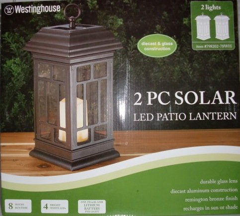 Captivating Westinghouse: 2PC Solar LED Patio Lanterns