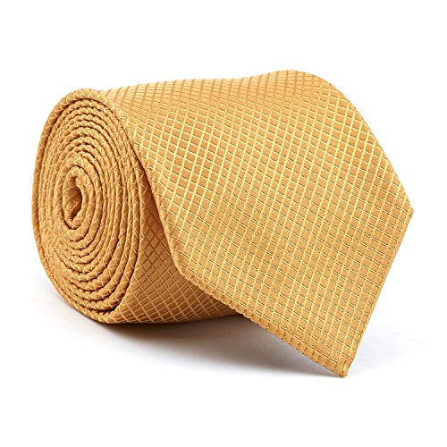 Diamond Patterned Silk Tie - Davidoff Mens Luxury 100% Silk Gold Diamond Grid Patterned Slim Necktie - 21200