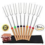 Marshmallow Roasting Sticks S'mores Skewers Set of 8 – 32 Inch KIDS SAFE Telescoping Stainless Steel Smores Marshmallow Sticks Hot Dog Forks for Campfire Grill, Fire pit, Camping Kids Review