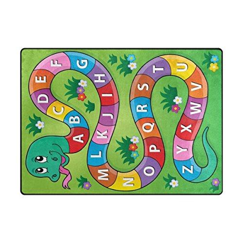 My Little Nest Kids Children Snake Alphabet Board Game Area Rug Baby Boys Girls Play Mat Non Slip Soft Educational Fun Carpets for Bedroom Classroom Nursery 4'10