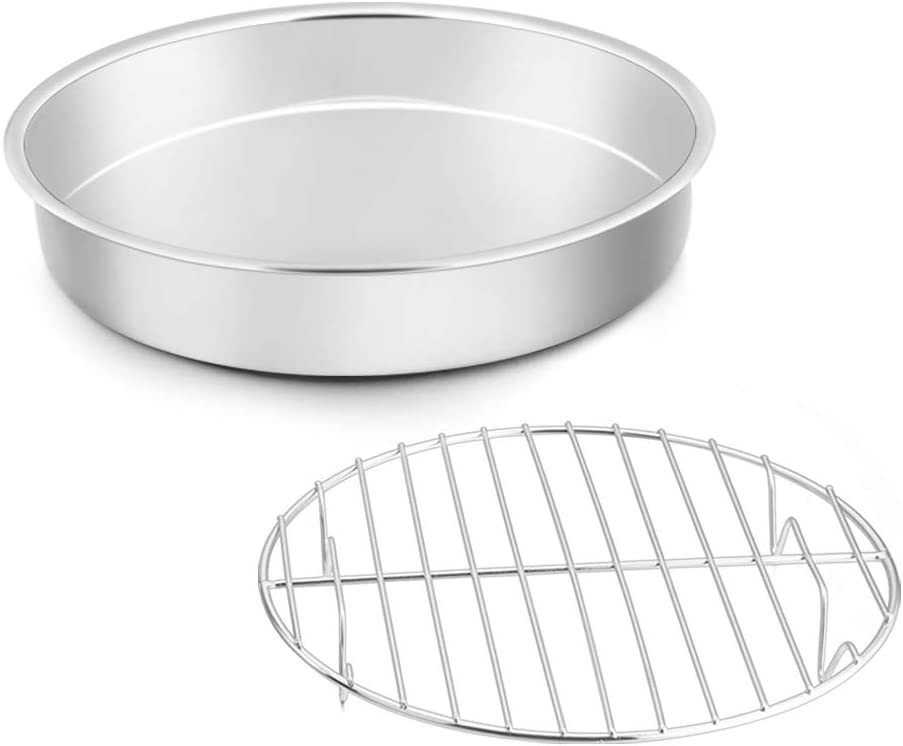 TeamFar Cake Pan with Rack Set, Round Tier Cake Pan with Cooling Rack Set Stainless Steel, For Baking/Cooling, Healthy & Heavy Duty, Mirror Finish & Dishwasher Safe - 2 Pieces(11 Inch)