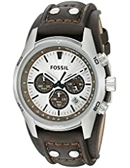Fossil Men's CH2565 Cuff Stainless Steel Chronograph Watch with Brown Leather Band