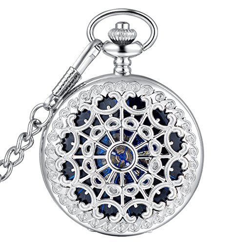 LYMFHCH Steampunk Blue Hands Scale Mechanical Skeleton Pocket Watch with Chain As Xmas Fathers Day Gift (Silver/Blue) -