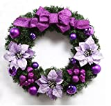 Christmas wreath butterfly knot Christmas decoration Rattan Circle Hotel shopping mall Christmas decorations Christmas gift festival Decorations (60cm, Purple)