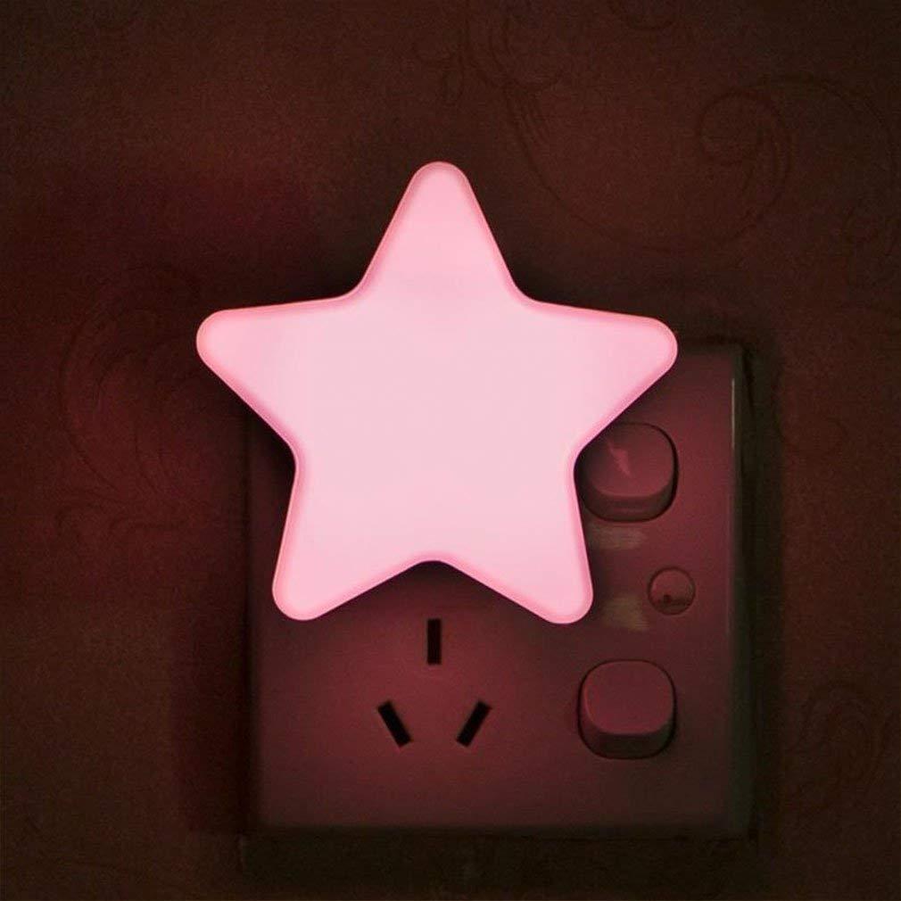 enchufe de la UE blanco luz de forma de estrella peque/ña Enchufe de pared Luz de noche para ni/ños Luces de sue/ño para ni/ños Luz de decoraci/ón del dormitorio Luz de noche para ni/ños