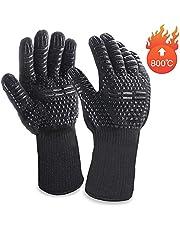 Grillhandschuhe MILcea Ofenhandschuhe Grill Lederhandschuhe Hitzebeständige bis zu 800 ° C Universalgröße Kochhandschuhe Backhandschuhe für BBQ Kochen Backen und Schweißen-Klassisch Schwarz
