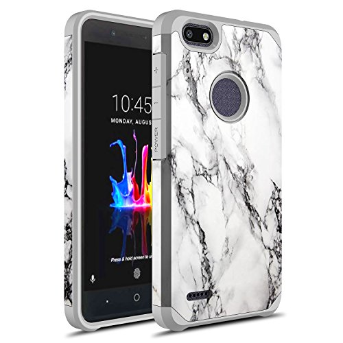 ZTE Blade Force Case,ZTE Wrap 8 Case, Rosebono Hybrid Dual Layer Shockproof Hard Cover Graphic Fashion Cute Colorful Silicone Skin for ZTE N9517 (White Marble)