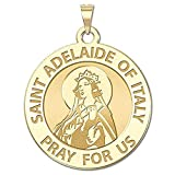 PicturesOnGold.com Saint Adelaide of Italy Religious Medal - - 3/4 Inch Size of a Nickel -Solid 14K Yellow Gold